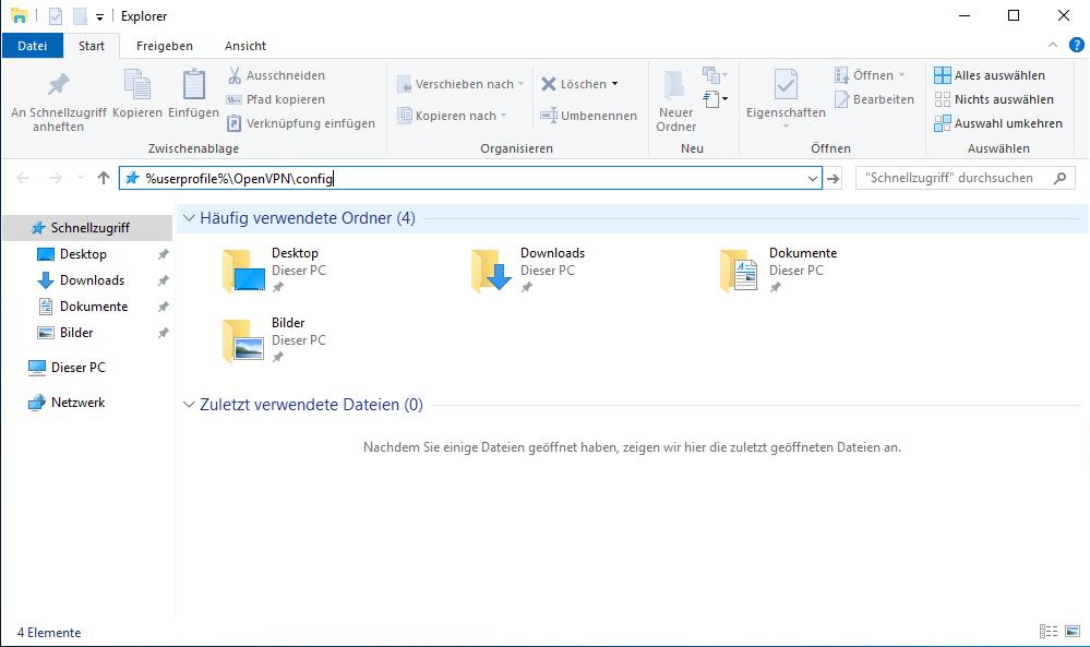 Die Konfigurationsdatei wird im Benutzerverzeichnis abgelegt.